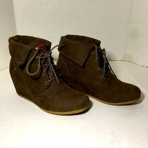 Mad Love Brown Faux Suede Wedged Ankle Boots